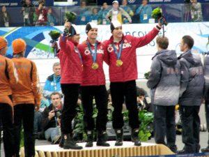 Denny Morrison 2010 Olympic Podium